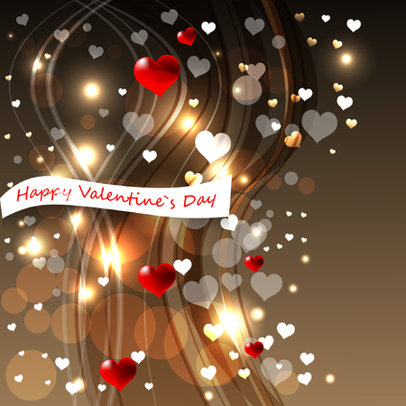 Bright abstract color vector graphic illustration of Valentine day love holiday with symbol of beautiful heart shape and lights on beige background 向量圖像