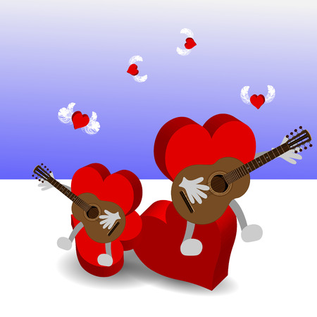 Bright color vector graphic illustration of Valentine day love holiday with symbol of beautiful heart shape and guitar on light background