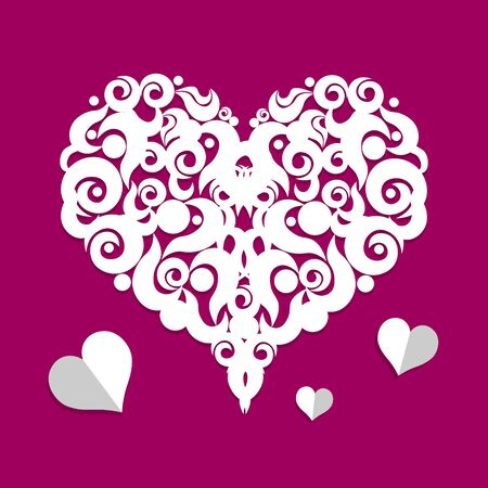 shape vector: Bright color vector graphic illustration of Valentine day love holiday with symbol of beautiful heart shape on purple background