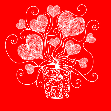 Bright color vector graphic illustration of Valentine day love holiday with symbol of beautiful heart shape on red background 向量圖像