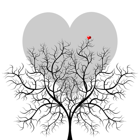 love tree: Bright pretty color vector graphic illustration of Valentine day love holiday with symbol of beautiful heart shape moon and bare tree on white background