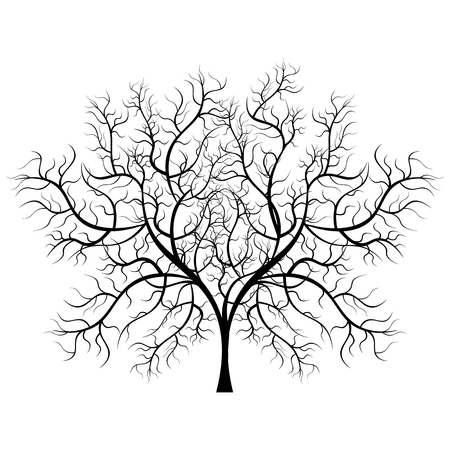 Bright pretty color vector graphic illustration of one growing bare black tree on white background