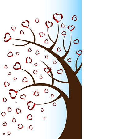 love tree: Half view of bright pretty color vector graphic illustration of Valentine day love holiday with symbol of beautiful heart shape growing on black tree on white background Illustration