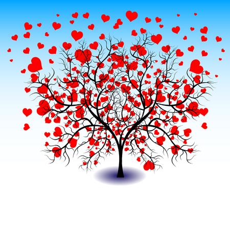 bonita del vector del color brillante ilustración gráfica de San Valentín día de fiesta con el amor símbolo de la forma del corazón hermoso que crece en árbol negro sobre fondo blanco