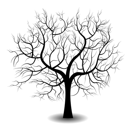 Bright pretty color vector graphic illustration of one growing black tree on white background
