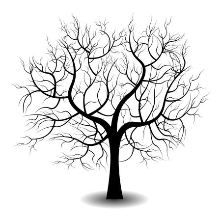 Helle schöne Farbe Vektor-Grafik-Darstellung einer wachsenden nackten schwarzen Baum auf weißem Hintergrund Vektorgrafik