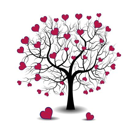 Bright pretty color vector graphic illustration of Valentine day love holiday with symbol of beautiful heart shape growing on black tree on white background 向量圖像
