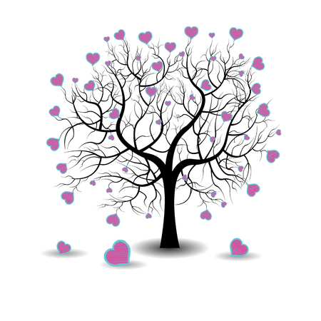 love tree: Bright pretty color vector graphic illustration of Valentine day love holiday with symbol of beautiful heart shape growing on black tree on white background Illustration