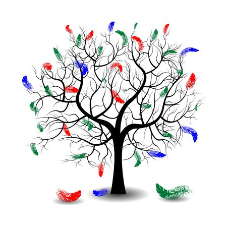 love tree: Bright pretty color vector graphic illustration of Valentine day love holiday with symbol of beautiful feather shape growing on black tree on white background