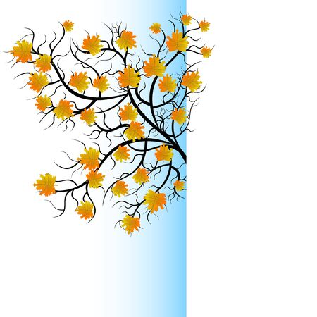 Half view of bright pretty color vector graphic illustration of autumn beautiful growing black tree with yellow orange leaves on white background Ilustração