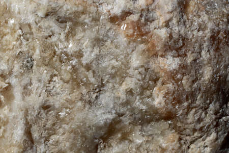 the deposits: Photo closeup of beautiful costal beach cracked solid sharp bright beige sea bay solar salt crystals minerals deposits formations solid layer on natural background, horizontal picture Stock Photo