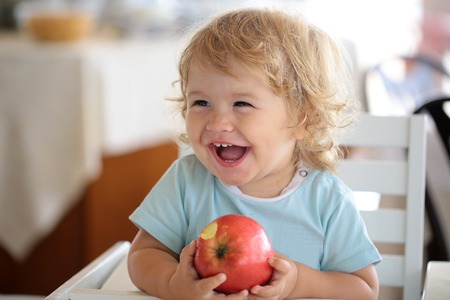 children eating: Laughing cute fair-haired blond hazel-eyed kid little child baby boy sitting in highchair and eating big red apple fruit portrait on blurred background, horizontal picture Stock Photo