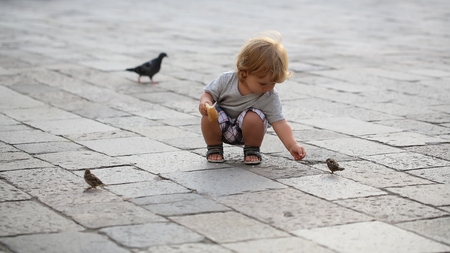fair haired: Photo closeup of cute fair-haired blond kid tiny little child baby boy feeding birds with bun sitting on haunches on flag-stone pavement cityscape on blurred grey background, horizontal picture Stock Photo