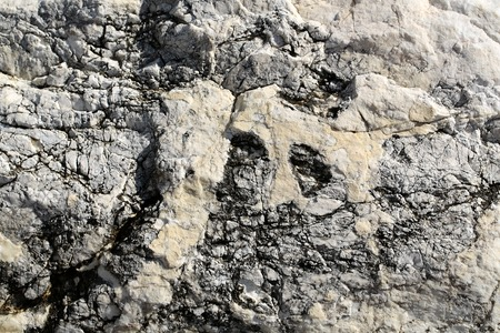 costal: Photo closeup of costal beach sharp cracked gray rock stone formations covered with salt minerals solid layer on natural background, horizontal picture Stock Photo