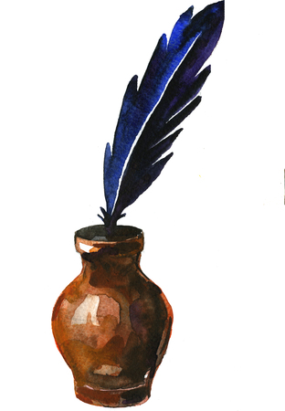 hand pen: Retro watercolor brown inkstand with dark blue ink pen on white background hand drawn illustration card postcard freehand Stock Photo