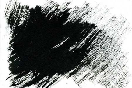 technics: Abstract black brushstroke on white background hand drawn by aquarelle technics freehand texture backdrop Stock Photo