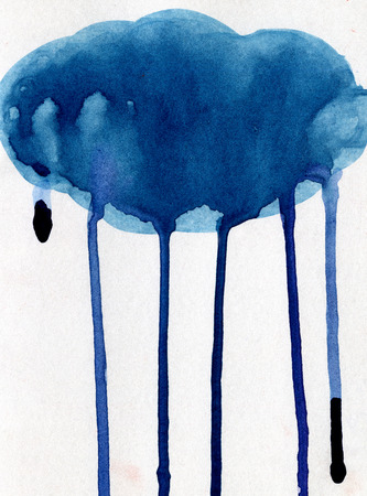 Closeup pleasing artistic water-color aquarelle freehand sketch rough drawing of blue cloud with splatters and water paint runs texture paper over white background, vertical picture
