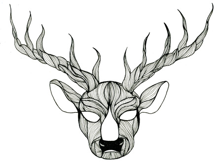 head paper: Closeup surreal fantasy black and white deer head pen-and-ink drawing freehand sketch texture paper over white background, horizontal picture