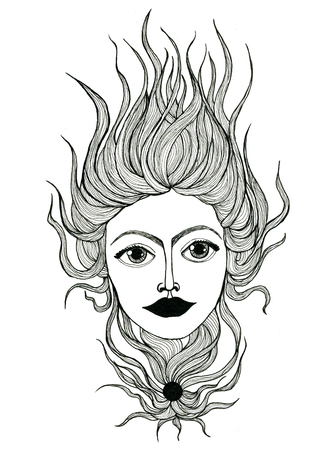 female face closeup: Closeup surreal fantasy beautiful black and white female face portrait with wavy hair pen-and-ink drawing freehand sketch texture paper over white background, vertical picture
