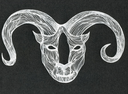 horny: Closeup surreal fantasy white color horny bull head muzzle pattern drawing freehand sketch art linen texture against black colour background, horizontal picture