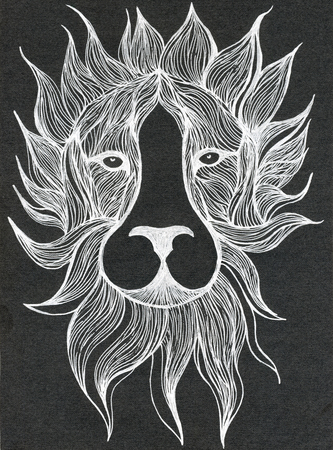 linen texture: Closeup surreal fantasy white color maned lion head muzzle pattern drawing freehand sketch art linen texture against black colour background, vertical picture