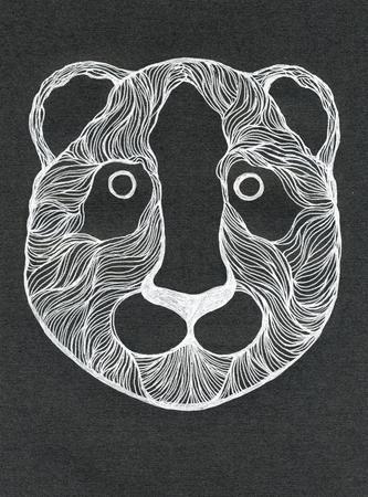 bearcat: Closeup surreal fantasy white color panda catbear head muzzle pattern drawing freehand sketch art linen texture against black colour background, vertical picture
