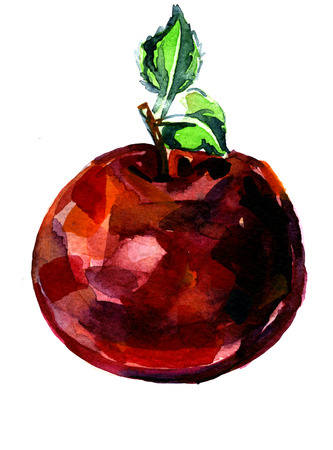 Closeup pleasing artistic water-color aquarelle freehand sketch rough drawing hand drawn of red apple water paint strokes and dabs texture paper over white background, vertical picture