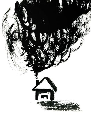 small house: Closeup small house with chimney spouted smoke smokestack pattern hand drawn texture paper black color picture illustration over white background, vertical picture