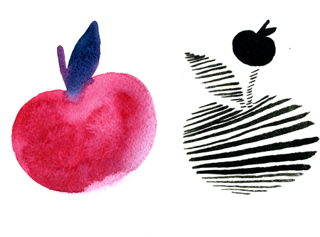 pleasing: Closeup pleasing artistic water-color aquarelle freehand sketch rough drawing triplet watercolour magenta striped and black apples texture paper over white background, horisontal picture