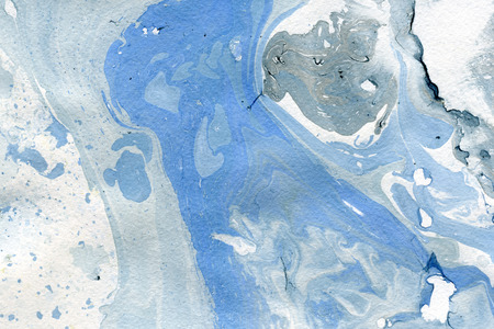 arty: Abstract seamless watercolour aquarelle hand drawn wash drawing arty grunge creative splatters blots and blobs paper texture on gray blue background, horizontal picture