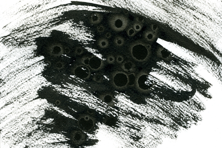 arty: Abstract watercolour aquarelle hand drawn wash drawing arty grunge creative black paint stains and strokes on white paper texture background, horizontal picture Stock Photo
