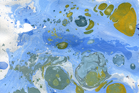 arty: Abstract seamless watercolour aquarelle hand drawn wash drawing arty grunge creative blue grey yellow splatters blots and blobs paper texture on multicolored background, horizontal picture