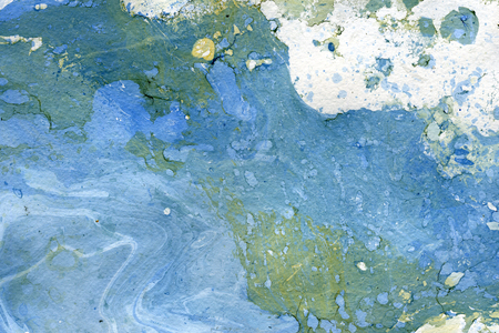 arty: Abstract seamless watercolour aquarelle hand drawn wash drawing arty grunge creative blue gray white splatters blots and blobs paper texture on multicolored background, horizontal picture