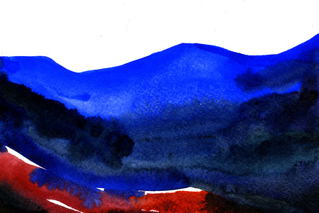 wash drawing: Abstract watercolour aquarelle hand drawn wash drawing arty grunge creative blue and red stroke marks blots blobs on white paper texture background, horizontal picture