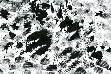 arty: Abstract watercolour aquarelle hand drawn wash drawing arty grunge creative leaf prints stains and splashes black and white on paper texture background, horizontal picture