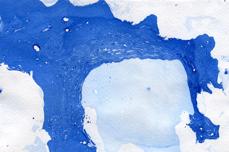 arty: Abstract seamless watercolour aquarelle hand drawn wash drawing arty grunge creative splatters blots and blobs paper texture on blue background, horizontal picture