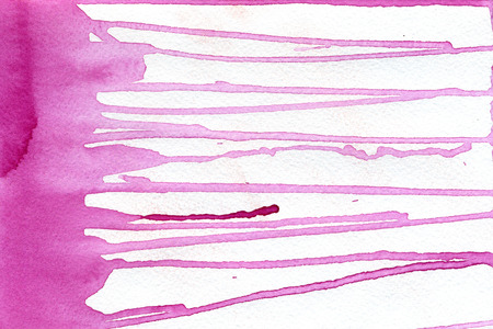 arty: Abstract closeup watercolour aquarelle hand drawn wash drawing arty grunge creative big violet blot with runs on white paper texture background, horizontal picture Stock Photo
