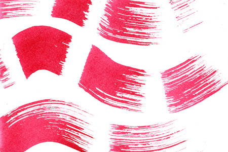 arty: Abstract isolated watercolour aquarelle hand drawn wash drawing arty grunge creative set of magenta wavy strokes and dabs on white background, horizontal picture