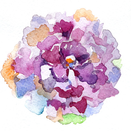 wash drawing: Abstract closeup watercolour aquarelle hand drawn wash drawing arty grunge creative big colorful splatter blot in shape of flower on white background, square picture