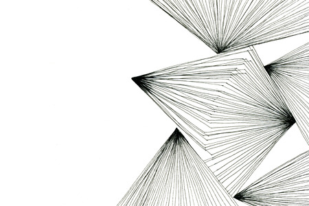 Black-and-white art drawing optical abstract geometric design  with triangles modern lines on white paper texture background, horizontal picture