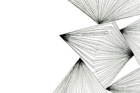 Zwart-wit kunst tekening optisch abstract geometrisch ontwerp met driehoeken moderne lijnen op witte papier textuur achtergrond, horizontale afbeelding