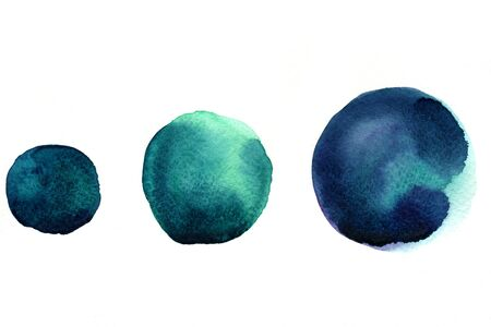 arty: Abstract isolated watercolour aquarelle hand drawn wash drawing arty grunge creative set of three marine blue circle splatters blots and blobs on white background, horizontal picture Stock Photo