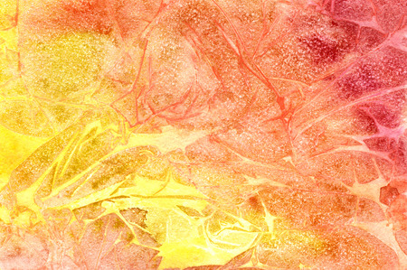 arty: Abstract seamless art hand paint watercolor aquarelle wash drawing arty grunge on yellow and red background, horizontal picture
