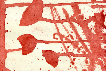 arty: Abstract watercolour aquarelle hand drawn wash drawing arty grunge creative set of red flowers splatters blots and blobs on white fabric texture background, horizontal picture