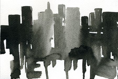 abstract art background: Abstract closeup watercolour aquarelle hand drawn wash drawing arty grunge creative daub with runs black and white on paper texture background, horizontal picture