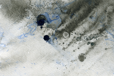 arty: Abstract seamless watercolour aquarelle hand drawn wash drawing arty grunge creative gray blue splatters blots and blobs paper texture on multicolored background, horizontal picture
