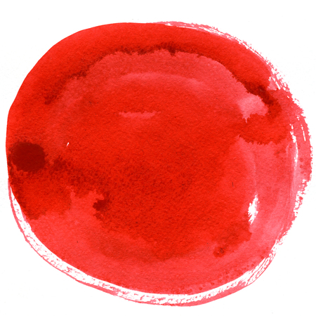 wash drawing: Abstract closeup watercolour aquarelle hand drawn wash drawing arty grunge creative big red circle spot blot on white background, square picture