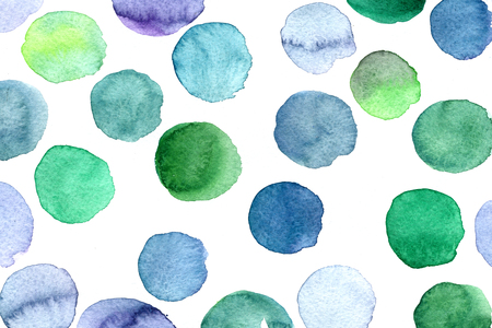 arty: Abstract isolated watercolour aquarelle hand drawn wash drawing arty grunge creative set of blue green circle splatters blots and blobs on white background, horizontal picture