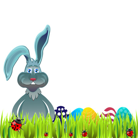 ostern: Bright color vector graphic illustration of happy easter sunday day with traditional spring holiday symbol of painted colorful eggs and cute rabbit in green grass on white background