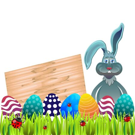 ostern: Bright color vector graphic illustration of happy easter sunday day with traditional spring holiday symbol of painted colorful eggs and cute rabbit on light background